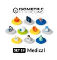 Isometric flat icons set 19 vector image