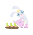 Bunny Planting The Carrots vector image