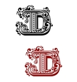 Ancient capital letter D with floral elements vector image