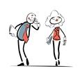 Flirting businessman gazed at a beautiful woman vector image
