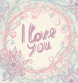 I love you Greeting Card template in vintage hand vector image