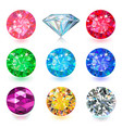 gemstone bright flatlay set top side view vector image vector image