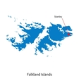Detailed map of Falkland Islands and capital city vector image