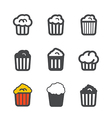 Different popcorn icons set vector image