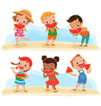 set of children with watermelon vector image