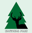 National park icon with deer stag and fir vector image