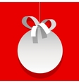 Christmas bauble white ball with a ribbon vector image vector image