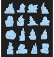 Cartoon beautiful blue icebergs cracked under the vector image