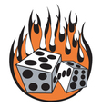 Dice with flames vector image