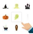 flat icon celebrate set of skeleton magic gourd vector image