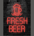 fresh beer neon sign or emblem on black brick wall vector image