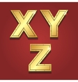 Gold letters alphabet font style X Y Z vector image