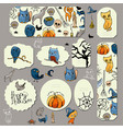 halloween symbols on stickers and banners vector image