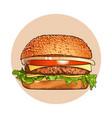 hamburger fast food classic cheeseburger vector image
