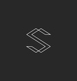 Letter S monogram logo black and white line vector image