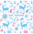 Noel card with deers and christmas decorations vector image