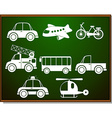 Transportations silhouette on blackboard vector image