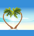 Two tropical palm curved into heart shape Heart vector image