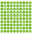 100 kids icons hexagon green vector image
