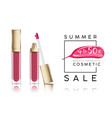 Cosmetics sale banner with lip-gloss and pink vector image