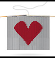 Knitted heart on needles vector image