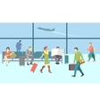 Business people in airport terminal travel vector image