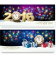 Happy New Year banners with presents and fireworks vector image