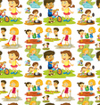 Seamless children playing and doing chores vector image