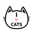 i love cats heart text lettering black cat head vector image