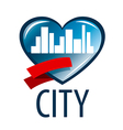 logo in the heart of the white city vector image