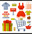 Supermarket grocery shopping retro cartoon icons vector image