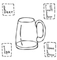 Vintage beer mug hand drawn vector image