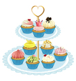 A tray with cupcakes vector image vector image