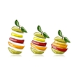 Slices of fruits apple shape Sketch for your vector image