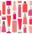 Seamless pattern with cosmetics bottles vector image