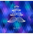 mustache tree christmas card on geometric vector image