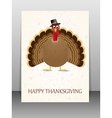 Happy Thanksgiving celebration card with turkey vector image vector image