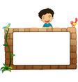 A white board a boy and birds vector image vector image