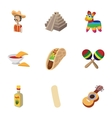 Tourism in Mexico icons set cartoon style vector image