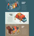 isometric garbage recycling horizontal banner set vector image