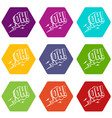 oh speech bubble icon set color hexahedron vector image