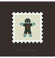 Gingerbread man Christmas flat stamp vector image