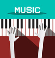 Music - Hands Playing Piano Keyboards vector image