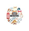 Watercolor retro detective accessories vector image