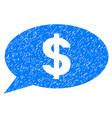 dollar message balloon grunge icon vector image