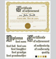 gold certificate template horizontal guilloche vector image