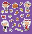 halloween toddlers and candies sticker set vector image