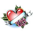 heart rose ribbon emblem vector image
