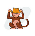 monkey wearing hat vector image