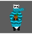 panda wearing scarf and pullover with cup vector image